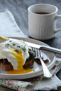 Benedict-Style Eggs with Sautéed Spinach {In 5 Minutes}