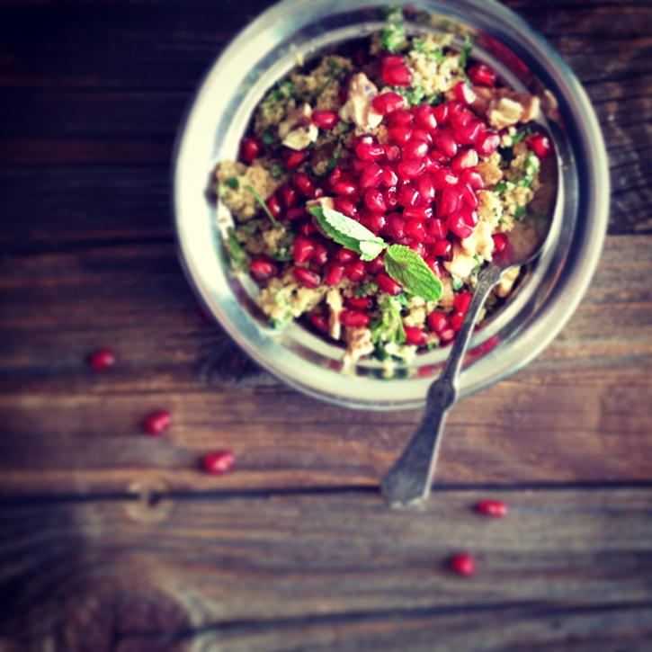 Bulgur Wheat Salad with Pomegranate + Walnut