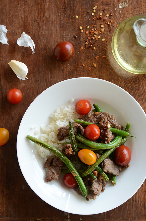 Soy Glazed Flank Steak with Blistered Green Beans