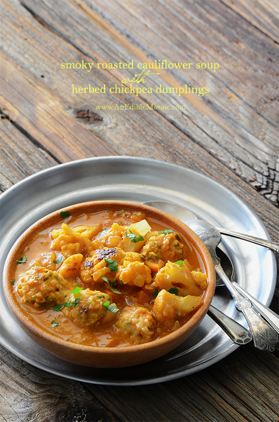 Smoky Roasted Cauliflower Soup with Herbed Chickpea Dumplings