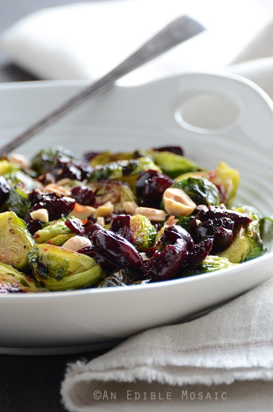 Caramelized Brussels Sprouts with Dark Cherry Sauce and Hazelnut 2