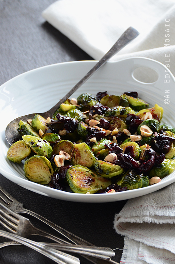 Caramelized Brussels Sprouts with Dark Cherry Sauce and Hazelnut