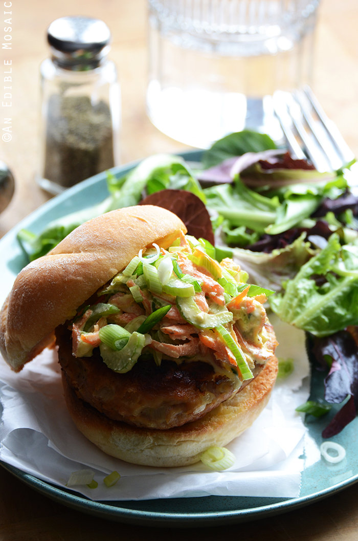 Buffalo Chicken Burgers with Spicy Blue Cheese Celery Slaw 2