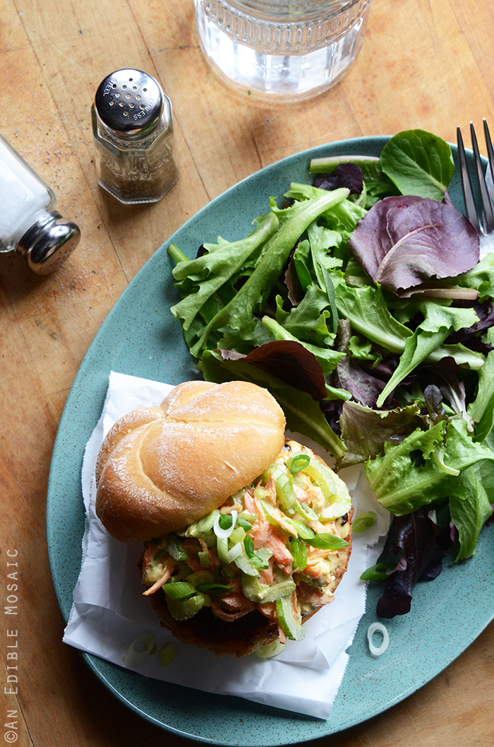 Buffalo Chicken Burgers with Spicy Blue Cheese Celery Slaw