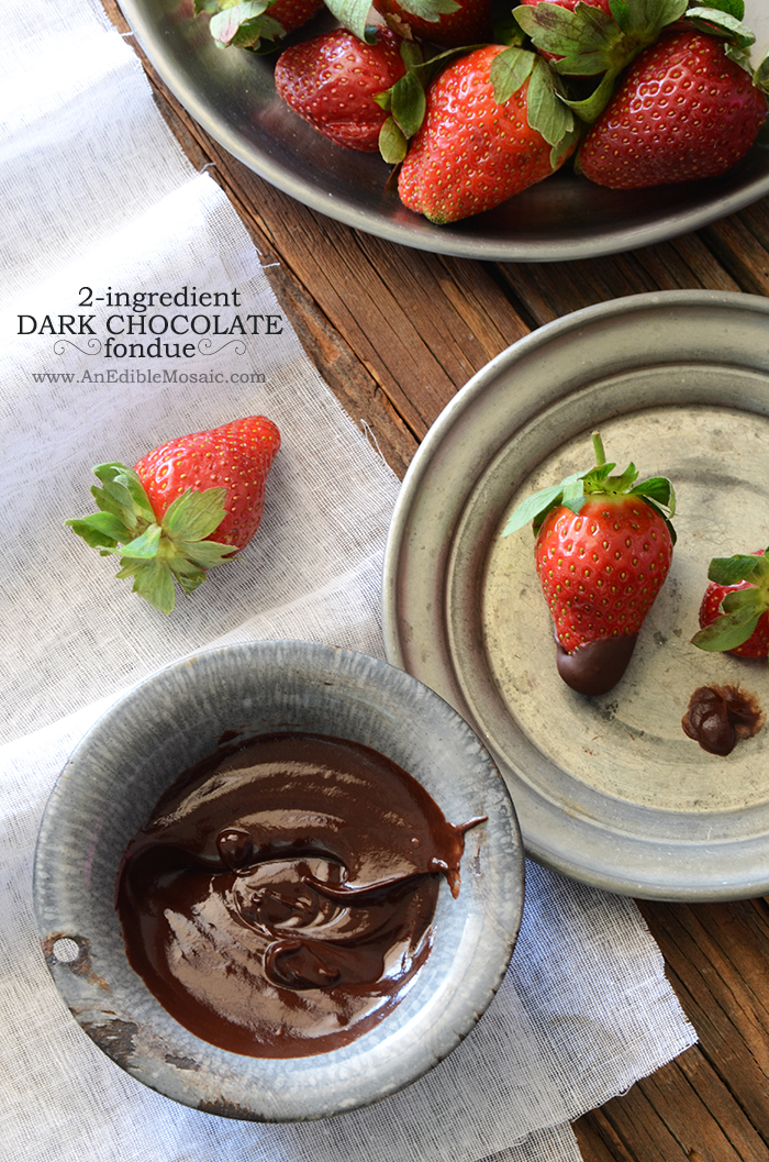 2-Ingredient Dark Chocolate Fondue {Paleo}