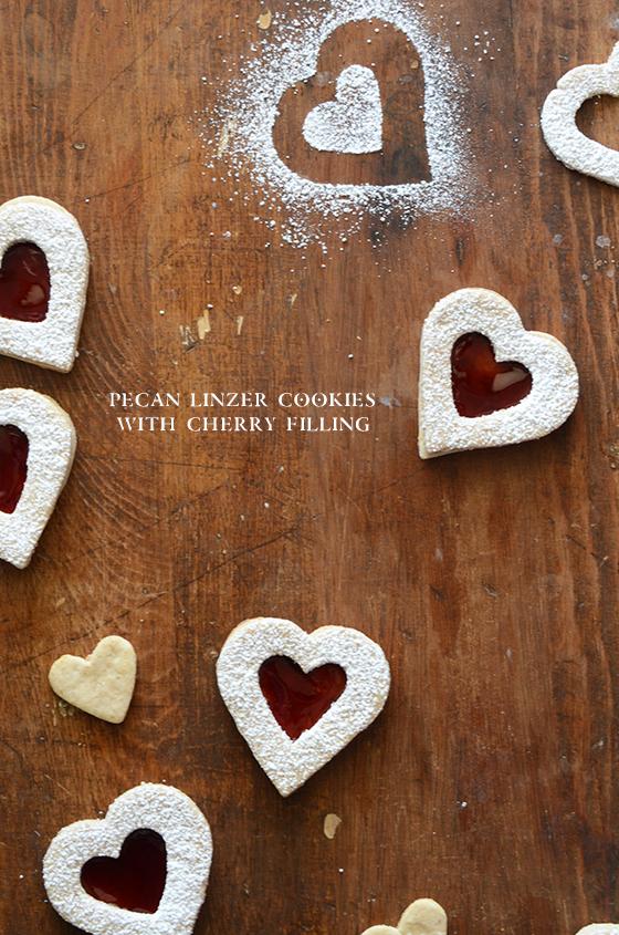 Pecan Linzer Cookies with Cherry Filling