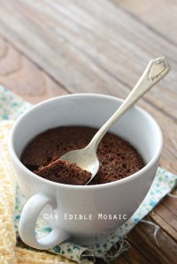 Healthy Chocolate Mug Cake Recipe in White Mug on Wooden Table