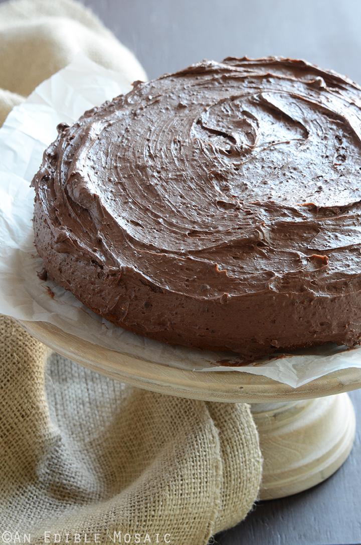 Yellow Banana Cake with Whipped Dark Chocolate Ganache 3