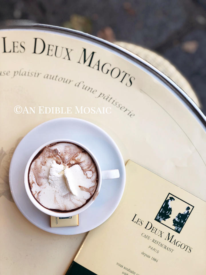 Close Up Overhead View of Drinking Chocolate aka Chocolat Chaud at Les Deux Magots