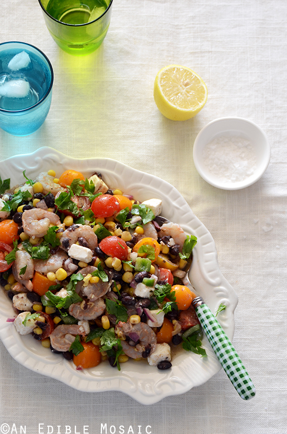 Shrimp, Black Bean, and Tomato Salad with Feta and Spicy Southwest Dressing 2