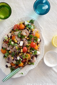 Shrimp, Black Bean, and Tomato Salad with Feta and Spicy Southwest Dressing
