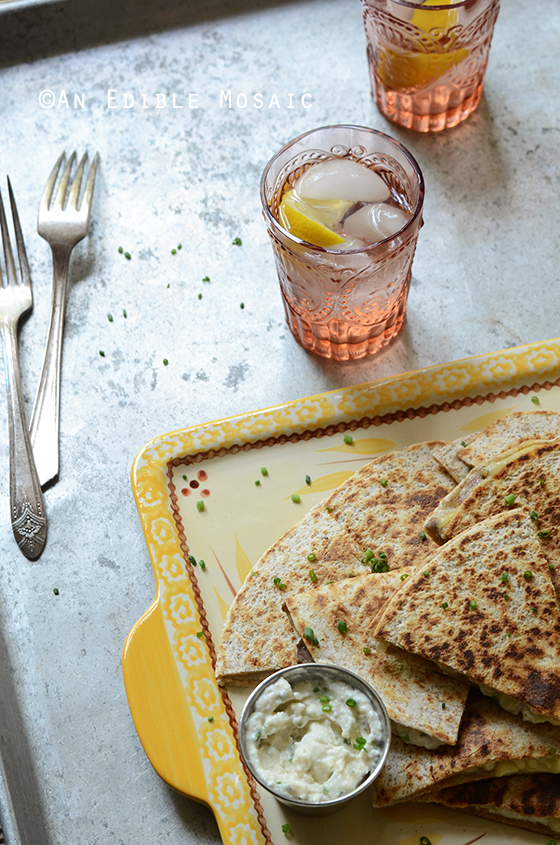 """""""His"""" and """"Hers"""" Fresh Corn Quesadillas with Roasted Garlic and Chive Crema 2"""