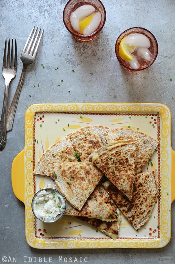 """His"" and ""Hers"" Fresh Corn Quesadillas with Roasted Garlic and Chive Crema"