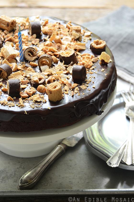 Flourless Chocolate Pear Hazelnut Cake with Bahlsen Waffeletten 4