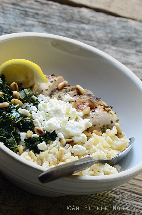 Herbed Chicken and Brown Rice Spanakopita Bowls 3
