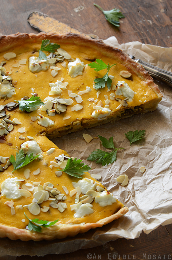 Savory Pumpkin, Ricotta, and Caramelized Onion Tart with Goat Cheese