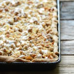 Apple Slab Pie with Nutty Oat Crumble Topping in Tray on Wooden Table