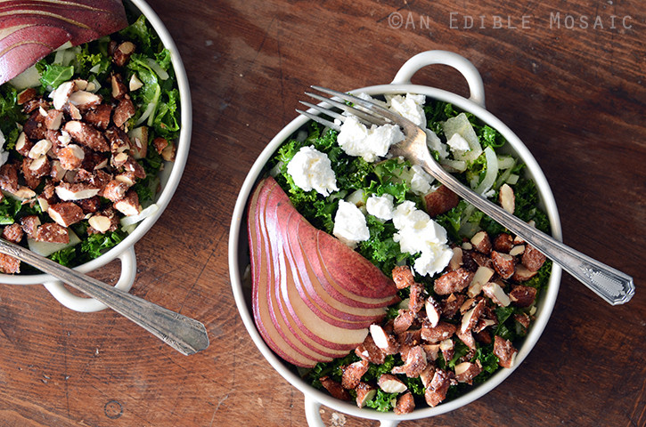 Kale Salad with Red Pear and Candied Almonds 4