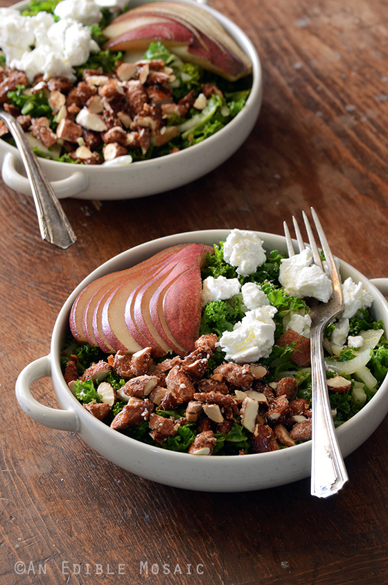 Kale Salad with Red Pear and Candied Almonds