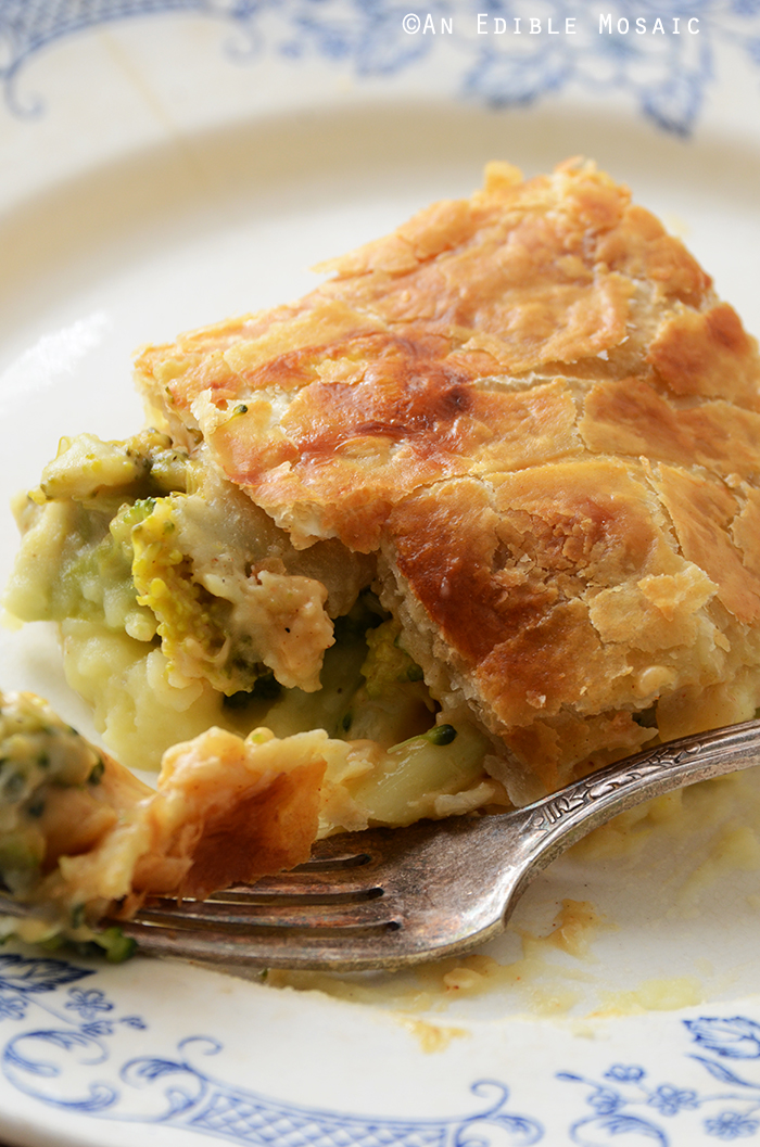 Leftover Turkey, Mashed Potato, and Broccoli Puff Pastry Pie with Cheddar Sauce 4