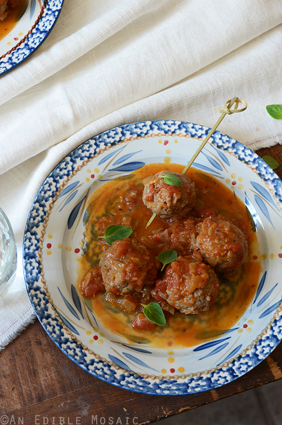 Tomato-Simmered Lemon and Oregano-Scented Bison Meatballs 3