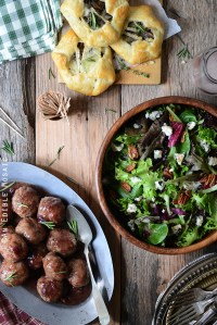 Herbed Roquefort-Stuffed Turkey Meatballs with Cranberry Apple Glaze and Salad Greens