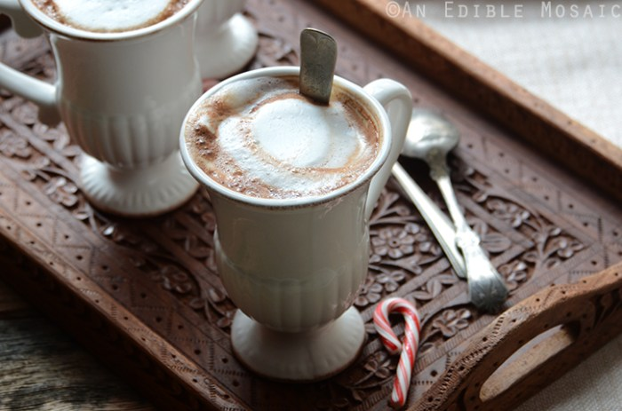 Skinny Peppermint Mocha Latte Recipe in White Mugs on Ornate Wooden Tray