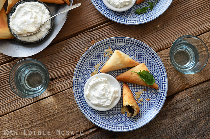 Crispy Baked Kale Phyllo Triangles with 3-Ingredient Feta Yogurt Dip 5