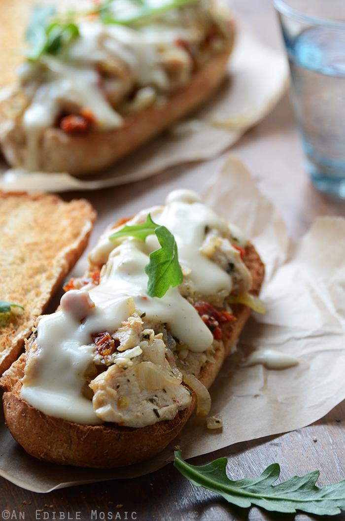 Italian Sundried Tomato, Garlic, and Rosemary Chicken Hoagies with Melted Fontina Sauce