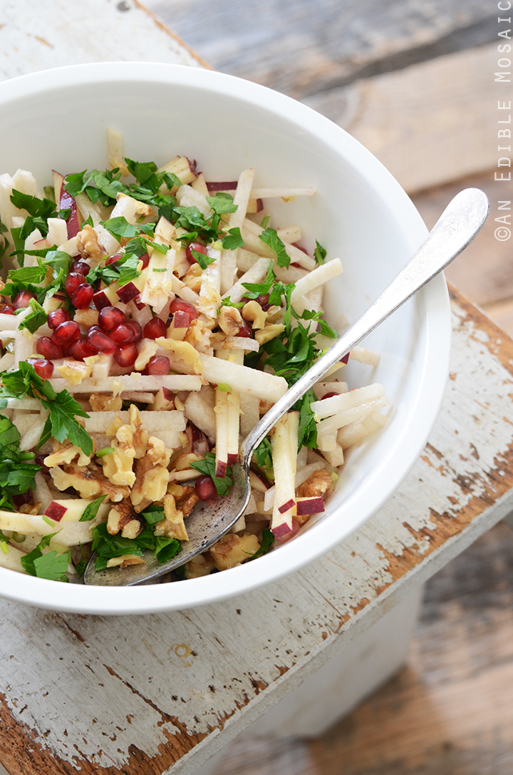 Jicama, Apple, and Pomegranate Salad with Raspberry-Dijon Vinaigrette