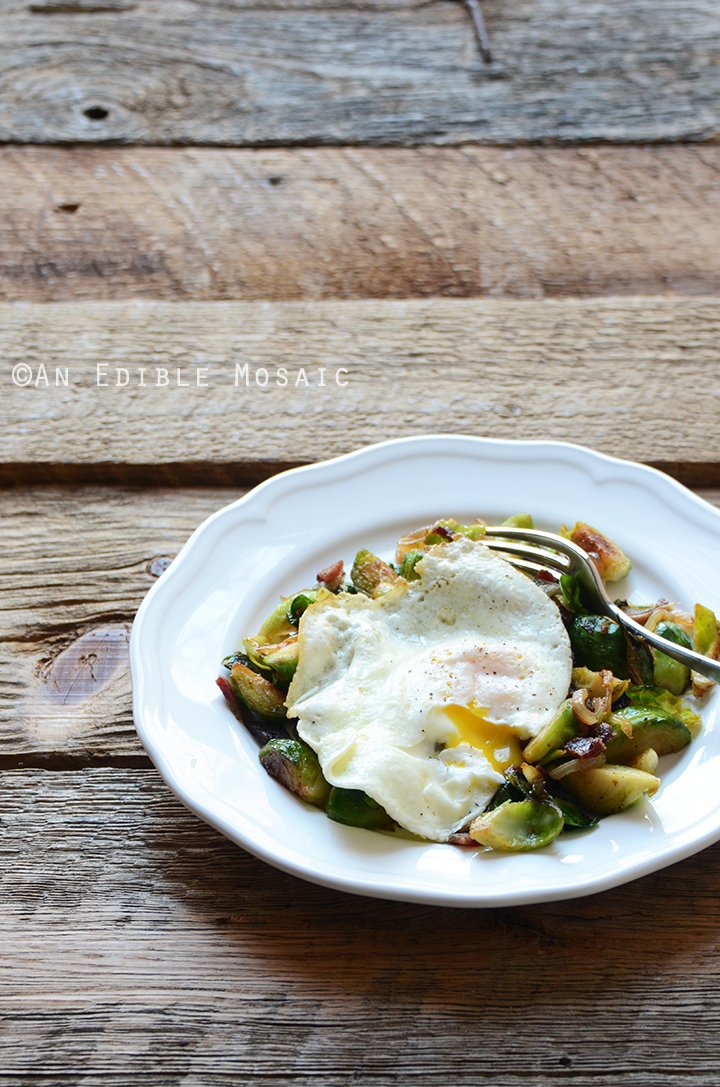 Brussels Sprout and Bacon Hash with Fried Egg 3