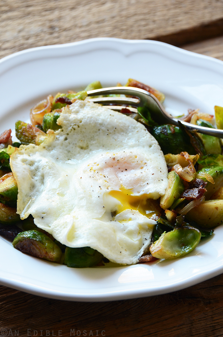 Brussels Sprout and Bacon Hash with Fried Egg