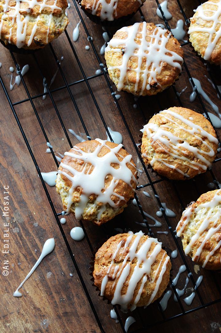 Oatmeal Golden Raisin Muffins with Cream Cheese Glaze {Vegan} 2