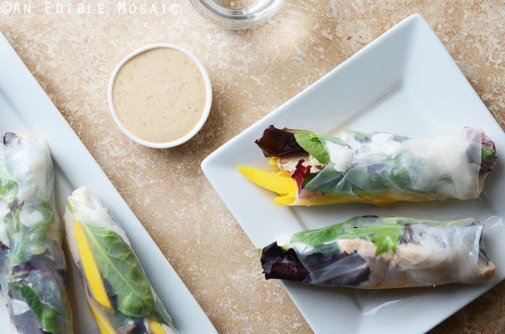 Mango Coconut Chicken Rolls with Spring Mix and Sesame-Ginger Sauce 4