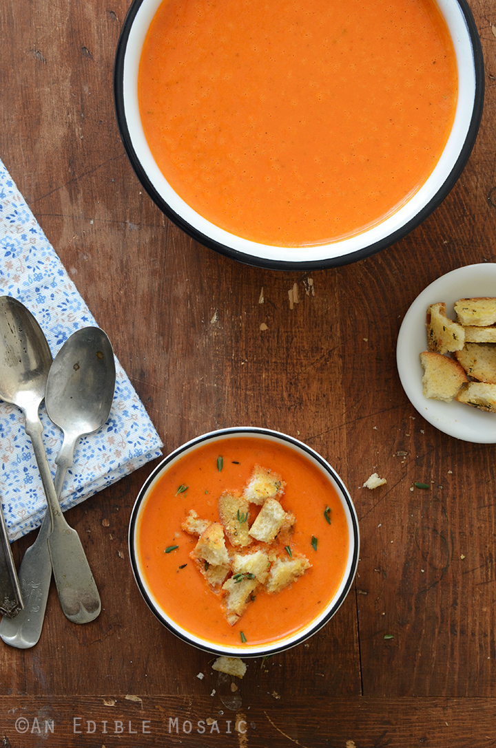 Roasted Red Pepper Soup with Cheesy Herb and Garlic Croutons 2