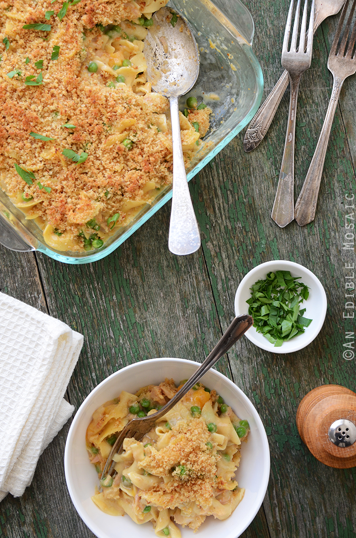 Old Bay-Spiced Cheesy Tuna Noodle Casserole with Buttered Toast Topping 3