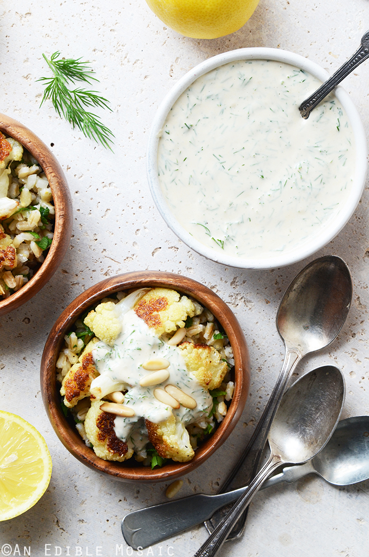 Roasted Cauliflower and Pearl Barley Bowls with Creamy Tahini-Dill Dressing 3