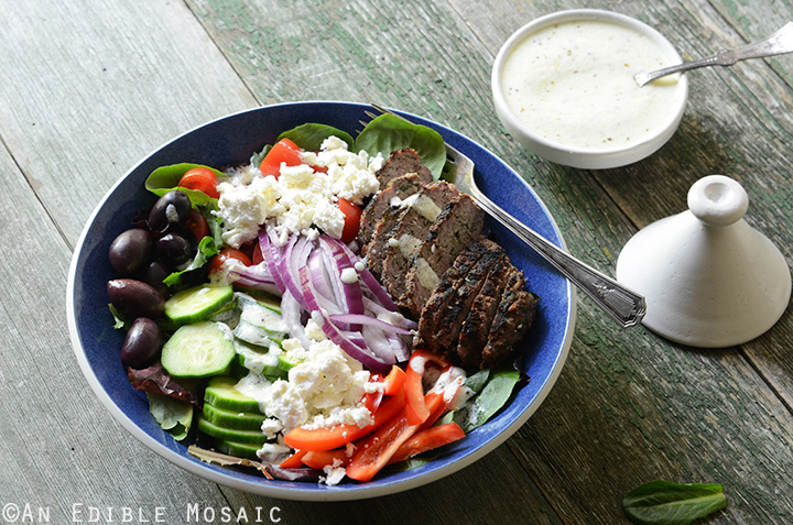 Greek Salad Bowls with Spiced Lamb Burgers 4