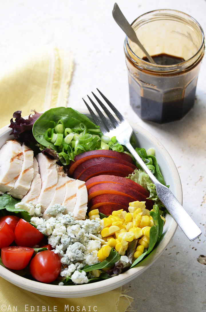Grilled Chicken Salad with Corn, Peaches, Blue Cheese, and Balsamic-Honey Syrup 1