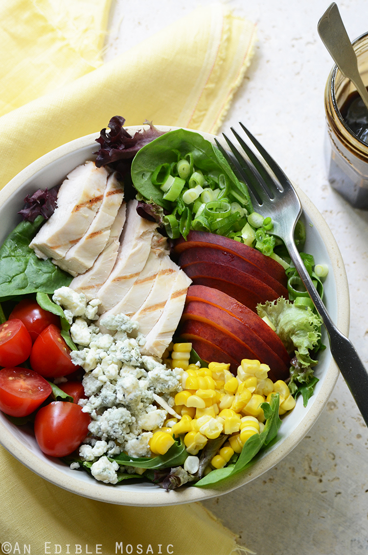 Grilled Chicken Salad with Corn, Peaches, Blue Cheese, and Balsamic-Honey Syrup 3