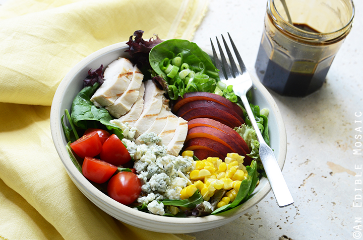 Grilled Chicken Salad with Corn, Peaches, Blue Cheese, and Balsamic-Honey Syrup 4