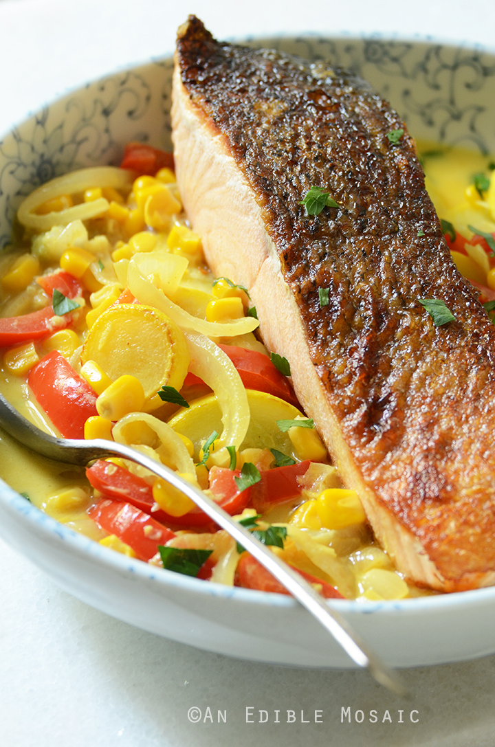 20-Minute Summer Vegetable Curry with Seared Salmon 2