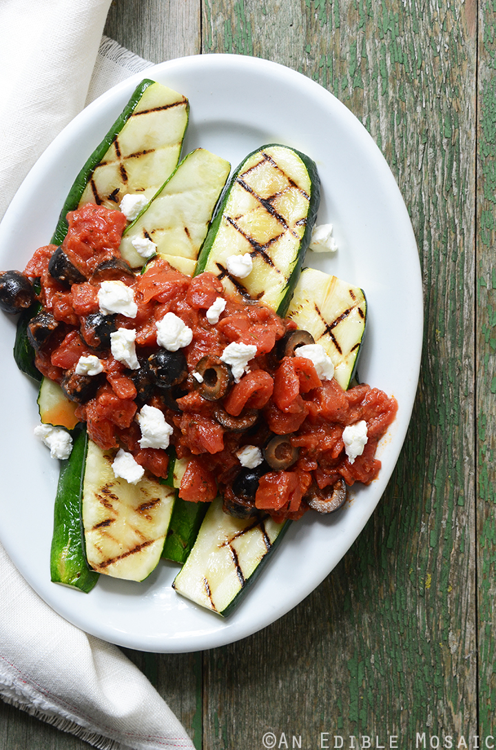 Grilled Zucchini with Quick Tomato-Olive Sauce and Feta Cheese 1