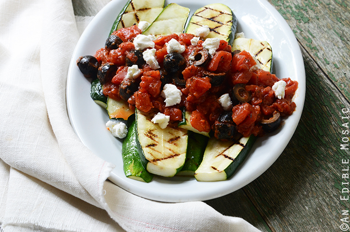 Grilled Zucchini with Quick Tomato-Olive Sauce and Feta Cheese 2