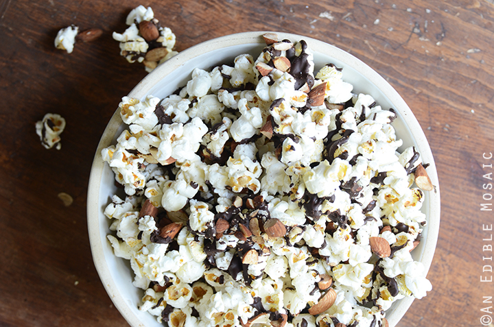 Easy Chocolate-Drizzled Coffee Popcorn with Toasted Almonds 3