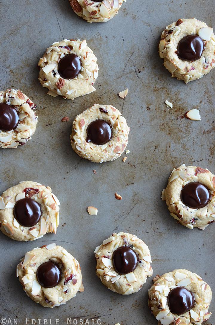 Cranberry-Chocolate-Almond Thumbprint Cookies