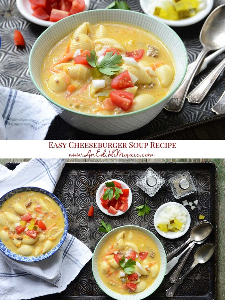 Easy Cheeseburger Soup Recipe Pinnable Image