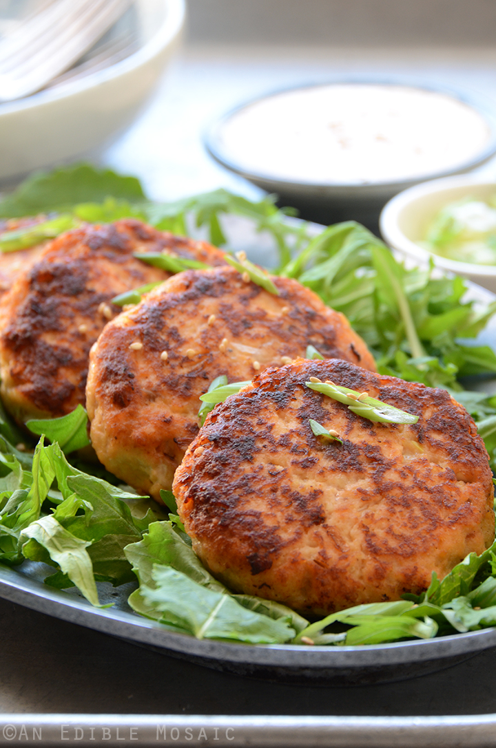 Hoisin Salmon Burgers with Ginger Mayo