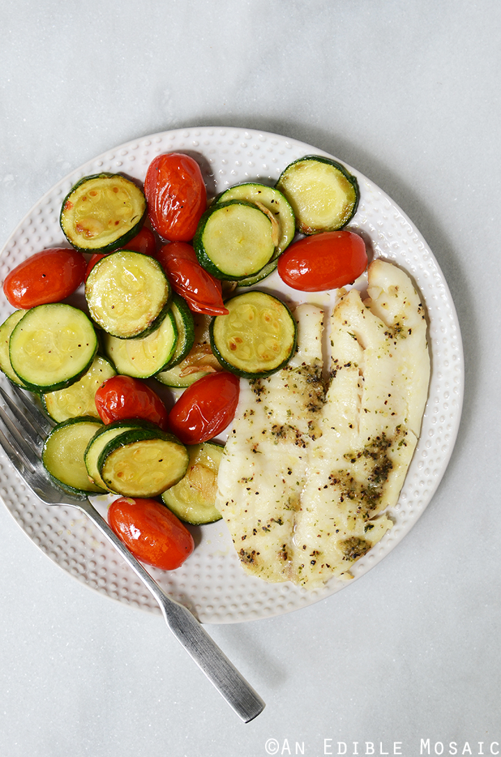 Tilapia with Quick Sautéed Zucchini and Cherry Tomatoes