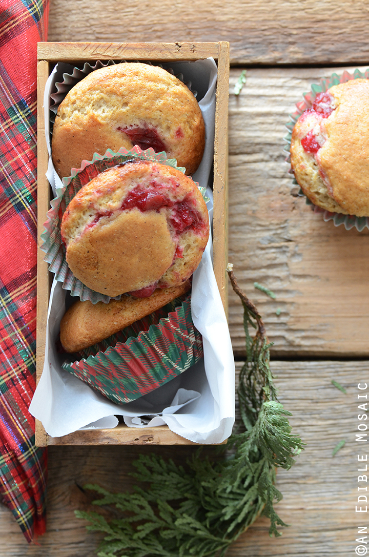Eggnog Muffins with Cranberry Filling
